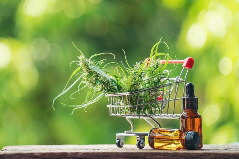 cbd oil in a shopping cart